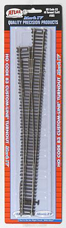 Atlas Code 83 #8 CL Mk IV Turnout Left HO Scale Nickel Silver Model Train Track #565