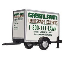 Atlas HO Box Trailer w/Single Axle,GreenLawn Landscaping