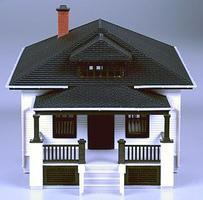 Atlas Barbs Bungalow - Assembled HO Scale Model Railroad Building #612