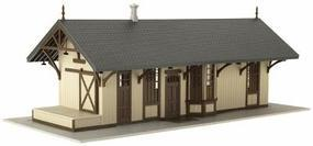 Atlas Maywood Train Station - Assembled - Tan w/Brown Trim HO Scale Model Railroad Building #6201