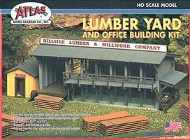 Atlas Lumber Yard & Office Kit HO Scale Model Railroad Building #750