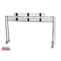 Atlas Modern Triple-Track Signal Bridge with 6 LED 3-Aspect Heads Assembled 8-9/16''  21.7cm Leg Spacing