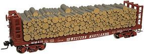 Atlas-O Pulpwood Flatcar w/Load - 3-Rail Western Maryland O Scale Model Train Freight Car #3003405