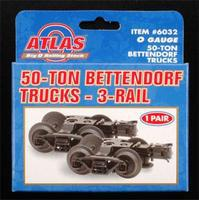 Atlas-O 50-Ton Bettendorf Trucks 3-Rail - 1 Pair O Scale Model Train Truck #6032