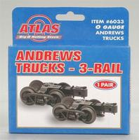 Atlas-O Andrews 3-Rail Trucks - 1 Pair O Scale Model Train Truck #6033