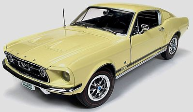 Auto World Diecast 1967 Ford Mustang GT 2+2 -- Diecast Model Car -- 1/18 Scale -- #1038
