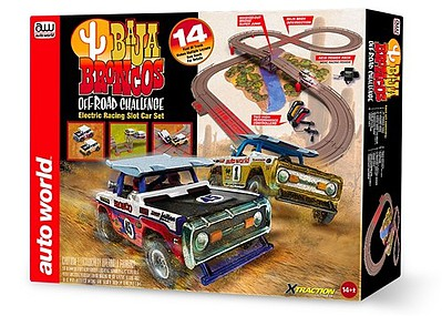Auto World Racing HO 1960s Baja Bronocs Off-Road Challenge Slot Car 14' Racing Set