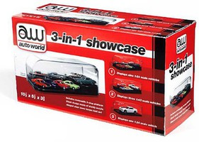 Auto-World 3-in-1 Auto Plastic Display Showcase for 1/64, 1/43, 1/24 w/Black Base & Interchangeable Inserts