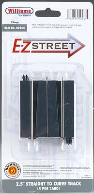 Bachmann WM E-Z St 2.5 Straight to Curved Track Conn (4) -- O Scale Model Railroad Road Accessory -- #00264