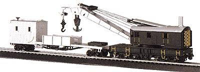 Bachmann 250-Ton Crane Car & Boom Tender Painted, Unlettered HO Scale Model Train Freight Car #16149