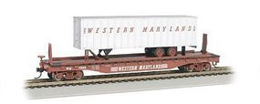Bachmann 526 Flat w/35 Trailer Western Maryland HO Scale Model Train Freight Car #16706