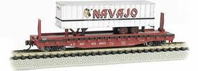 Bachmann 526 Flatcar with trailer ATSF N Scale Model Train Freight Car #16751