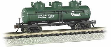 Bachmann 3-Dome Tank Chemcell -- N Scale Model Train Freight Car -- #17152
