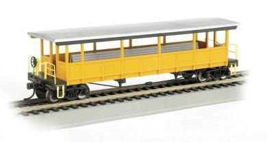 Bachmann Open-Sided Excursion Car w/Seats Unlettered -- HO Scale Model Train Passenger Car -- #17448