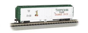 Bachmann ACF 50 Steel Reefer Tropicana White/Green N Scale Model Train Freight Car #17954