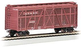 Bachmann 40' Stock Car Santa Fe HO Scale Model Train Freight Car #18502