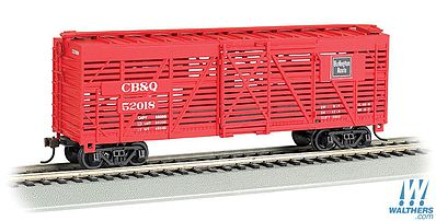 Bachmann 40 Stock Car Chicago Burlington & Quincy HO Scale Model Train Freight Car #18505