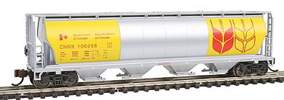 Bachmann 4-Bay Grain Hopper Government of Canada -- N Scale Model Train Freight Car -- #19184