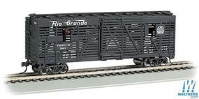 Bachmann 40 Animated Stock Car D&RGW with Cows HO Scale Model Train Freight Car #19706