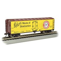 Bachmann 40 Wood-Side Reefer Roberts Meats of Distinction HO Scale Model Train Freight Car #19807