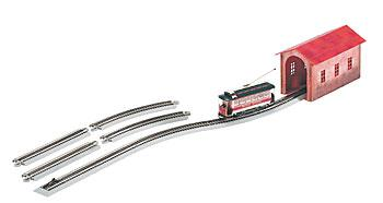 Bachmann Spectrum Village Street Car Set -- Christmas, Nickel Silver E-Z Track System & Power Supply - On30-Scale