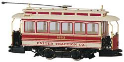 Traction-Powered Closed Streetcar - United Traction Co. On30 Scale Trolley and Hand Car #25128