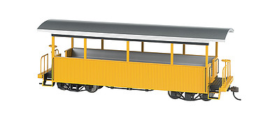 Bachmann Wood Excursion Car - Ready to Run -- Painted, Unlettered (yellow, silver Roof) - On30-Scale