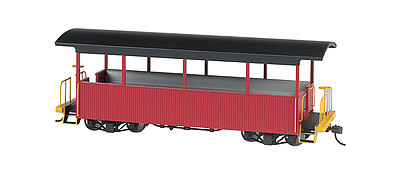 Bachmann Wood Excursion Car - Ready to Run -- Painted, Unlettered (burgundy, black Roof) - On30-Scale