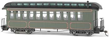 Bachmann Spec Conv Coach/OBS Car Painted Olive ON30 -- O Scale Model Train Passenger Car -- #26202