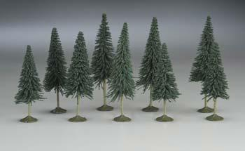 Bachmann 3-4 Pine Trees (9) N Scale Model Railroad Scenery #32101