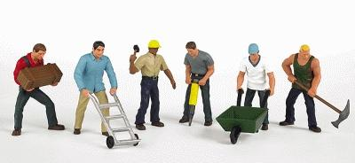 Bachmann Construction Workers (6) -- HO Scale Model Railroad Figure -- #33105