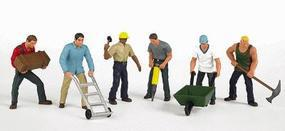 Bachmann Construction Workers (6) HO Scale Model Railroad Figure #33105