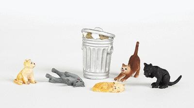 Bachmann Cats w/Garbage Can (6) -- HO Scale Model Railroad Figure -- #33107