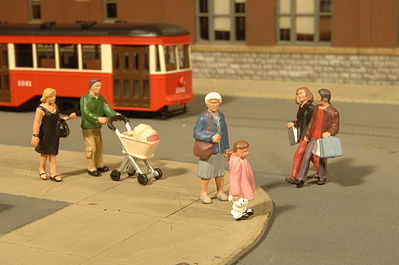 Bachmann Scenescapes People Strolling (6 & Baby Coach) -- O Scale Model Railroad Figure -- #33159