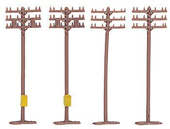 Bachmann Telephone Poles (12) -- N Scale Model Railroad Trackside Accessory -- #42506