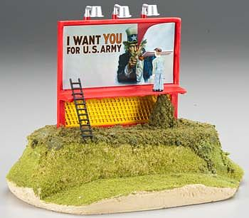 Bachmann Billboard - Uncle Sam Wants You For U.S. Army -- O Scale Model Railroad Roadway Accessory -- #42604