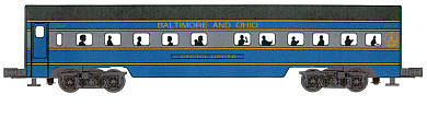 Bachmann 2-Car Passenger Add-On (60') - Baltimore & Ohio -- O Scale Model Train Passenger Car -- #43001