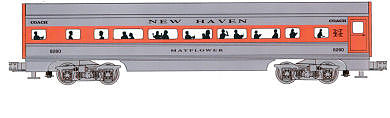 Bachmann 4-Car Passenger Set (60') - New Haven -- O Scale Model Train Passenger Car -- #43062
