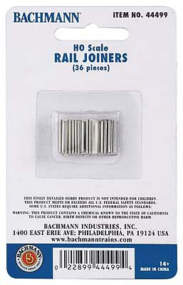 Bachmann EZ Track Rail Joiners (36) HO Scale Nickel Silver Model Train Track #44499