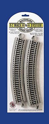Bachmann 18 Curve N/S E-Z Track (4) HO Scale Nickel Silver Model Train Track #44501