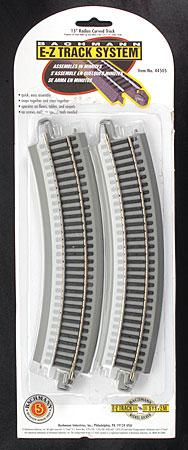 Bachmann 15 Radius Curve N/S (4) -- HO Scale Nickel Silver Model Train Track -- #44505