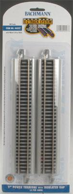 Bachmann 9 Power Terminal Straight Track w/Ins Gap(2) HO Scale Nickel Silver Model Train Track #44597