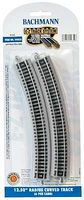 Bachmann E-Z 12.5 Radius Curve NS (6) N Scale Nickel Silver Model Train Track #44852