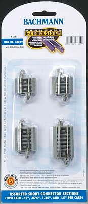 Bachmann E-Z Short Connections (8) -- N Scale Nickel Silver Model Train Track -- #44899