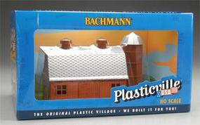 Bachmann Dairy Barn w/Silo Built-Up HO Scale Model Railroad Building #45007