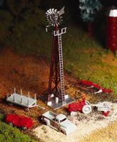 Bachmann Windmill w/Farm Machinery Kit O Scale Model Railroad Trackside Accessory #45603