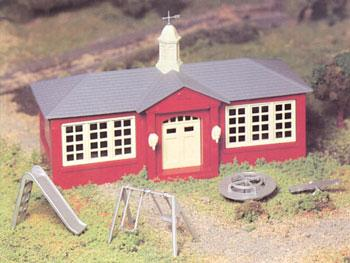 School House w/Playground Accys Snap Kit O Scale Model Railroad Building #45611