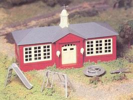 Bachmann School House w/Playground Accys Snap Kit O Scale Model Railroad Building #45611