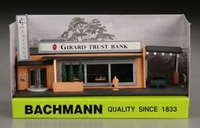 Bachmann Drive-In Bank w/Figures Built-Up N Scale Model Railroad Building #45804
