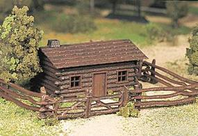Bachmann Log Cabin w/Fence Snap Kit O Scale Model Railroad Building #45982